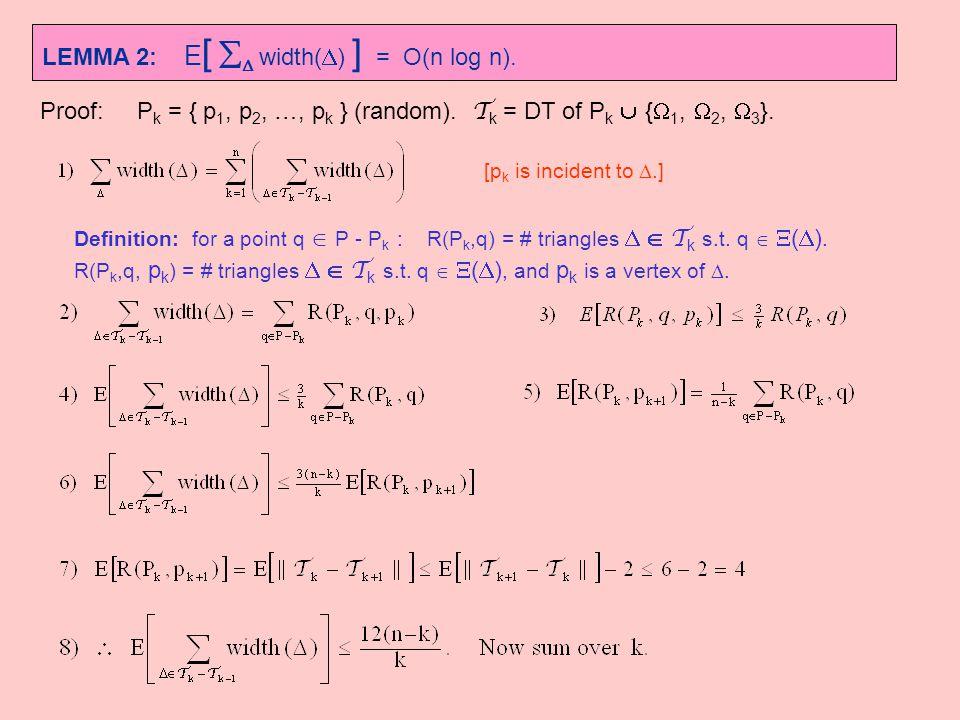 LEMMA 2: E[ D width(D) ] = O(n log n).